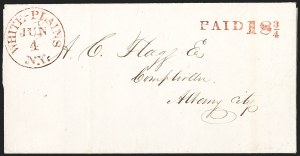 Sale Number 1196, Lot Number 676, New York Stampless Postal Markings (U thru Y Towns, balances)White-Plains N.Y. Jun. 4 (1844), White-Plains N.Y. Jun. 4 (1844)