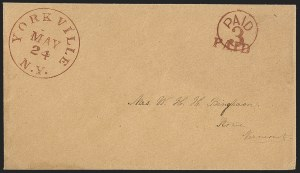 Sale Number 1196, Lot Number 678, New York Stampless Postal Markings (U thru Y Towns, balances)York-Ville N.Y. May 24, York-Ville N.Y. May 24
