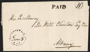 Sale Number 1196, Lot Number 680, New York Stampless Postal Markings (U thru Y Towns, balances)New York Town Postmarks on Stampless Covers, New York Town Postmarks on Stampless Covers