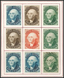 Sale Number 1196, Lot Number 697, Specialized New York Postmaster's Provisionals: Essays & ProofsNew York N.Y., 5c Washington, Trial Color Plate Proofs on Bond (9X1TC5), New York N.Y., 5c Washington, Trial Color Plate Proofs on Bond (9X1TC5)