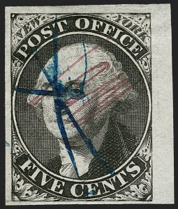 "Sale Number 1196, Lot Number 709, Specialized New York Postmaster's Provisionals: Off-CoverNew York N.Y., 5c Black, ""ACM"" Initials (9X1), New York N.Y., 5c Black, ""ACM"" Initials (9X1)"