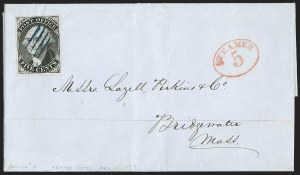 Sale Number 1196, Lot Number 740, Specialized New York Postmaster's Provisionals: CoversNew York N.Y., 5c Black, Without Signature (9X1e), New York N.Y., 5c Black, Without Signature (9X1e)