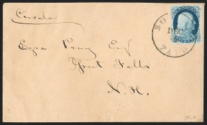Sale Number 1196, Lot Number 828, 1857-60 Issue1c Blue, Ty. IIIa (22), 1c Blue, Ty. IIIa (22)