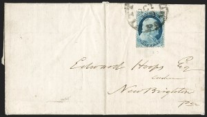 Sale Number 1196, Lot Number 829, 1857-60 Issue1c Blue, Ty. IV (23), 1c Blue, Ty. IV (23)