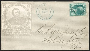 Sale Number 1196, Lot Number 837, Campaign & Civil War Patriotics3c Green (158), 3c Green (158)