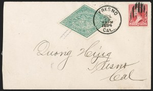 Sale Number 1196, Lot Number 966, Local PostsBicycle Mail Route, Cal., 25c Green, Retouched Die (12L2), Bicycle Mail Route, Cal., 25c Green, Retouched Die (12L2)