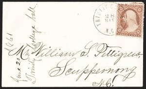 Sale Number 1196, Lot Number 985, Confederate States: Independent and CSA Uses of U.S. StampsTrinity College N.C. 28 May (1861), Trinity College N.C. 28 May (1861)