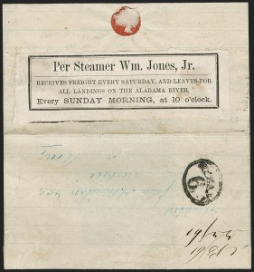 Sale Number 1196, Lot Number 988, Confederate States: Independent and CSA Uses of U.S. StampsPer Steamer Wm. Jones, Jr, Per Steamer Wm. Jones, Jr