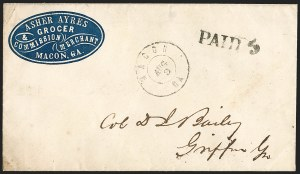 Sale Number 1196, Lot Number 994, Confederate States: Handstamped Paid and DueMacon Ga. Aug. 9 (1861), Macon Ga. Aug. 9 (1861)