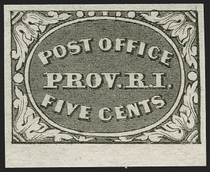 Sale Number 1197, Lot Number 1501, Postmasters' ProvisionalsProvidence R.I., 5c Gray Black (10X1), Providence R.I., 5c Gray Black (10X1)