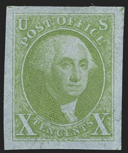 Sale Number 1197, Lot Number 1511, 1847 Issue Proofs5c Blue Green on India, 10c Yellow Green on Blue Pelure, Large Die Trial Color Proofs (1TC1ag, 2TC1ao), 5c Blue Green on India, 10c Yellow Green on Blue Pelure, Large Die Trial Color Proofs (1TC1ag, 2TC1ao)