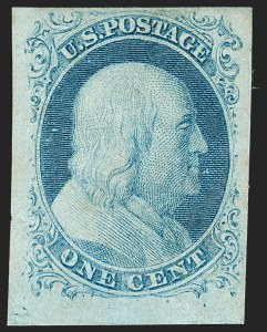 Sale Number 1197, Lot Number 1576, 1851-56 Issue (Scott 7-17)1c Blue, Ty. II (7), 1c Blue, Ty. II (7)