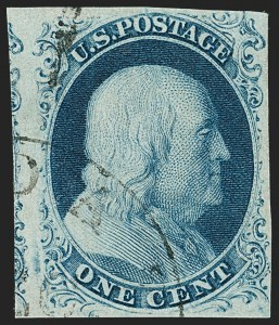 Sale Number 1197, Lot Number 1578, 1851-56 Issue (Scott 7-17)1c Blue, Ty. III (8), 1c Blue, Ty. III (8)