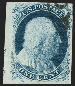 Sale Number 1197, Lot Number 1580, 1851-56 Issue (Scott 7-17)1c Blue, Ty. IIIa (8A), 1c Blue, Ty. IIIa (8A)