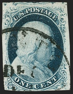 Sale Number 1197, Lot Number 1582, 1851-56 Issue (Scott 7-17)1c Blue, Ty. IIIa (8A), 1c Blue, Ty. IIIa (8A)