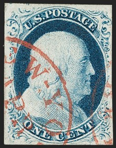 Sale Number 1197, Lot Number 1585, 1851-56 Issue (Scott 7-17)1c Blue, Ty. IV (9), 1c Blue, Ty. IV (9)