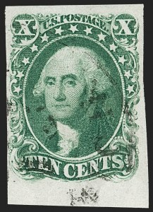 Sale Number 1197, Lot Number 1594, 1851-56 Issue (Scott 7-17)10c Green, Ty. I (13), 10c Green, Ty. I (13)