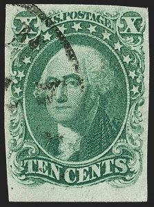 Sale Number 1197, Lot Number 1595, 1851-56 Issue (Scott 7-17)10c Green, Ty. I (13), 10c Green, Ty. I (13)