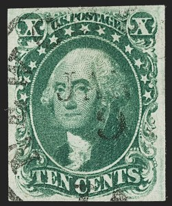 Sale Number 1197, Lot Number 1596, 1851-56 Issue (Scott 7-17)10c Green, Ty. I (13), 10c Green, Ty. I (13)