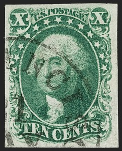Sale Number 1197, Lot Number 1597, 1851-56 Issue (Scott 7-17)10c Green, Ty. I (13), 10c Green, Ty. I (13)
