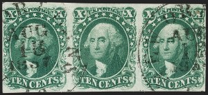 Sale Number 1197, Lot Number 1598, 1851-56 Issue (Scott 7-17)10c Green, Ty. I (13), 10c Green, Ty. I (13)