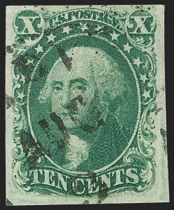 Sale Number 1197, Lot Number 1603, 1851-56 Issue (Scott 7-17)10c Green, Ty. IV (16), 10c Green, Ty. IV (16)