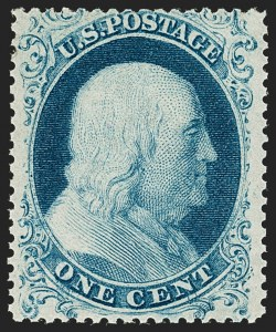 Sale Number 1197, Lot Number 1606, 1857-60 Issue (Scott 18-39)1c Blue, Ty. I (18), 1c Blue, Ty. I (18)