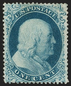Sale Number 1197, Lot Number 1607, 1857-60 Issue (Scott 18-39)1c Blue, Ty. I (18), 1c Blue, Ty. I (18)