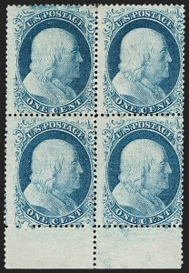 Sale Number 1197, Lot Number 1608, 1857-60 Issue (Scott 18-39)1c Blue, Ty. II-I/I-I (20-18/18-18), 1c Blue, Ty. II-I/I-I (20-18/18-18)
