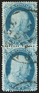 Sale Number 1197, Lot Number 1609, 1857-60 Issue (Scott 18-39)1c Blue, Ty. II/I (20/18), 1c Blue, Ty. II/I (20/18)