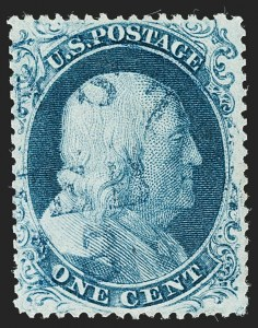 Sale Number 1197, Lot Number 1610, 1857-60 Issue (Scott 18-39)1c Blue, Ty. III (21), 1c Blue, Ty. III (21)