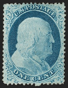 Sale Number 1197, Lot Number 1611, 1857-60 Issue (Scott 18-39)1c Blue, Ty. IV (23), 1c Blue, Ty. IV (23)