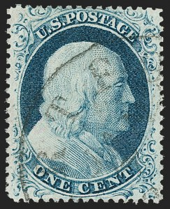 Sale Number 1197, Lot Number 1613, 1857-60 Issue (Scott 18-39)1c Blue, Ty. IV (23), 1c Blue, Ty. IV (23)