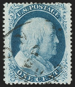 Sale Number 1197, Lot Number 1615, 1857-60 Issue (Scott 18-39)1c Blue, Ty. V (24), 1c Blue, Ty. V (24)