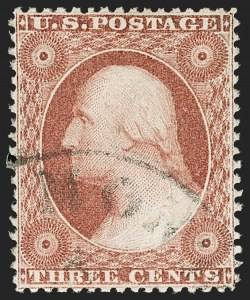 Sale Number 1197, Lot Number 1617, 1857-60 Issue (Scott 18-39)3c Rose, Ty. I (25), 3c Rose, Ty. I (25)