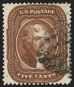 Sale Number 1197, Lot Number 1627, 1857-60 Issue (Scott 18-39)5c Orange Brown, Ty. II (30), 5c Orange Brown, Ty. II (30)