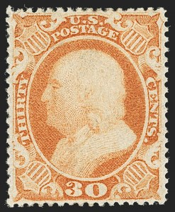 Sale Number 1197, Lot Number 1636, 1857-60 Issue (Scott 18-39)30c Orange (38), 30c Orange (38)