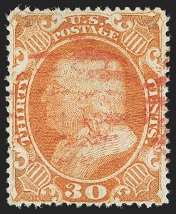 Sale Number 1197, Lot Number 1637, 1857-60 Issue (Scott 18-39)30c Orange (38), 30c Orange (38)