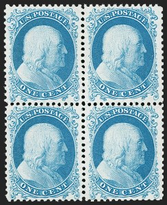 Sale Number 1197, Lot Number 1641, 1875 Reprint of 1857-60 Issue (Scott 40-47)1c Bright Blue, Reprint (40), 1c Bright Blue, Reprint (40)