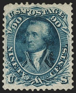 Sale Number 1197, Lot Number 1645, 1861-66 Issue (Scott 56-78)90c Blue, First Design (62), 90c Blue, First Design (62)