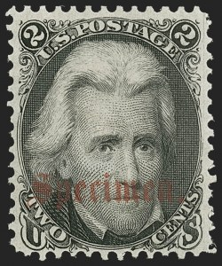 "Sale Number 1197, Lot Number 1670, 1861-66 Issue (Scott 56-78)2c Black, ""Specimen"" Ovpt. Ty. B (73SB), 2c Black, ""Specimen"" Ovpt. Ty. B (73SB)"
