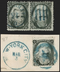 Sale Number 1197, Lot Number 1676, 1861-66 Issue (Scott 56-78)2c Black Jacks, Colored Cancels (73, 87, 93), 2c Black Jacks, Colored Cancels (73, 87, 93)
