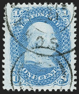 Sale Number 1197, Lot Number 1702, 1867-68 Grilled Issue (Scott 79-101)1c Blue, F. Grill (92), 1c Blue, F. Grill (92)