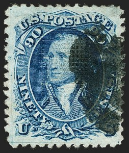 Sale Number 1197, Lot Number 1710, 1867-68 Grilled Issue (Scott 79-101)90c Blue, F. Grill (101), 90c Blue, F. Grill (101)
