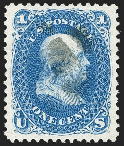 Sale Number 1197, Lot Number 1712, 1875 Re-Issue of 1861-66 Issue (Scott 102-111)1c Blue, Re-Issue (102), 1c Blue, Re-Issue (102)