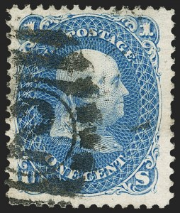 Sale Number 1197, Lot Number 1713, 1875 Re-Issue of 1861-66 Issue (Scott 102-111)1c Blue, Re-Issue (102), 1c Blue, Re-Issue (102)