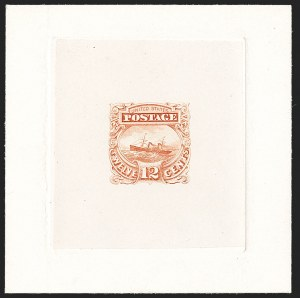 "Sale Number 1197, Lot Number 1725, 12c ""Adriatic"" 1869 Pictorial Issue, Essays & Proofs (Scott 117-E, 117P)12c Dull Orange Red, Small Numeral, Completed Die, Large Die Essay on India (117-E2c, formerly 117-E1c), 12c Dull Orange Red, Small Numeral, Completed Die, Large Die Essay on India (117-E2c, formerly 117-E1c)"