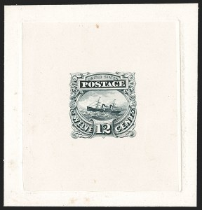 "Sale Number 1197, Lot Number 1727, 12c ""Adriatic"" 1869 Pictorial Issue, Essays & Proofs (Scott 117-E, 117P)12c Gray Black, Small Numeral, Completed Die, Large Die Essay on India (117-E2c, formerly 117-E1c), 12c Gray Black, Small Numeral, Completed Die, Large Die Essay on India (117-E2c, formerly 117-E1c)"