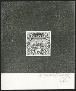 "Sale Number 1197, Lot Number 1734, 12c ""Adriatic"" 1869 Pictorial Issue, Essays & Proofs (Scott 117-E, 117P)12c Black, Typographed Small Numeral Die Essay on Card (117-E3a), 12c Black, Typographed Small Numeral Die Essay on Card (117-E3a)"