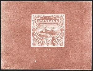 "Sale Number 1197, Lot Number 1737, 12c ""Adriatic"" 1869 Pictorial Issue, Essays & Proofs (Scott 117-E, 117P)12c Brown Red, Typographed Small Numeral Die Essay on Card (117-E3a), 12c Brown Red, Typographed Small Numeral Die Essay on Card (117-E3a)"
